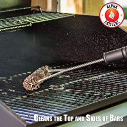 Alpha Grillers BBQ Grill Brush. Stainless Steel Bristles, 18 Inch Long Tools Ideal For A Weber Barbecue