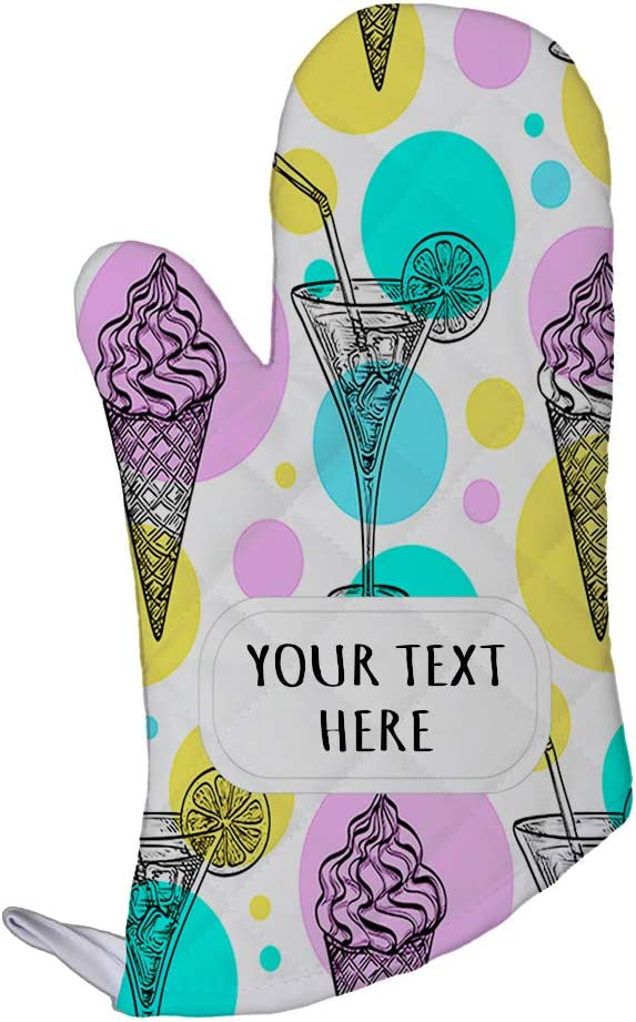 Polyester Oven Mitt Custom Cocktail and Ice Cream Seemless Pattern Adults Kitchen Mittens