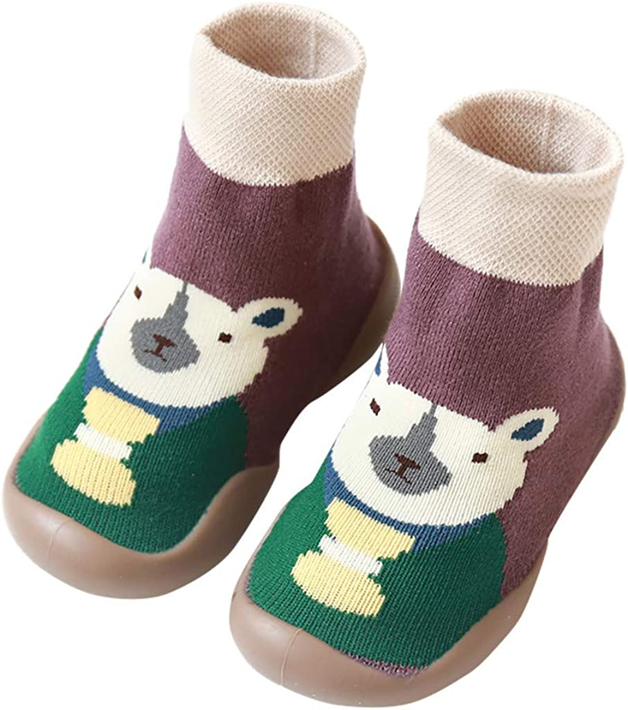 WARMSHOP Infant Baby Girls Boys Socks Cute Letter Print Anti-Slip Knit Ankle Cotton Grip Socks
