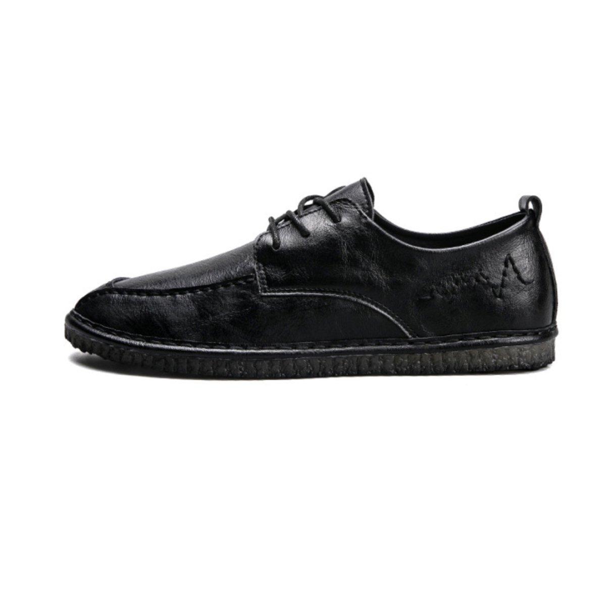 LYZGF Zapatos De Cuero De Moda De Ocio Juvenil De Primavera Y Verano Para Hombres 39 EU|Black
