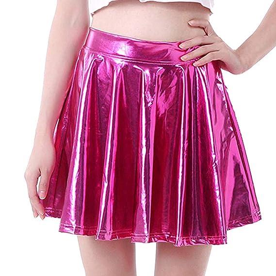 YUTING Mini Falda Elástica Patinadora de Terciopelo de Retro ...