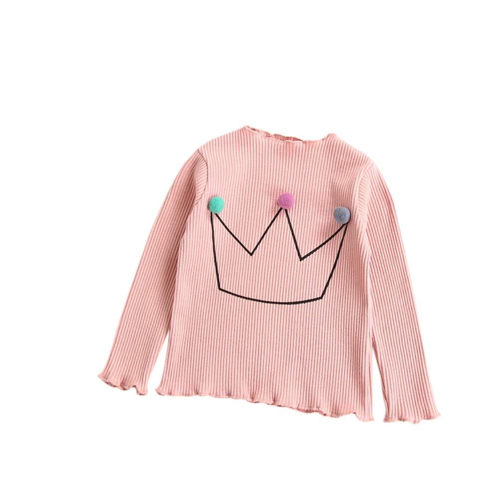 Urmagic Toddler Baby Girls Crown Pompom Long Sleeve Pullover Little Kids Sweater Sweatshirt Tops 2-7 Years Old