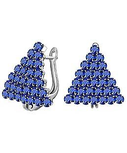 Wansan Zircon Earrings Elegant Simple Shining Triangle Crystal Decoration Earring for Women Girls - Blue