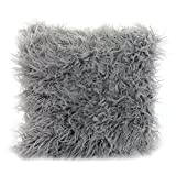Play Tailor Mongolian Faux Fur Pillow Case for Couch Sofa Bed, Super Soft Plush Cushion Cover 45 x 45cm