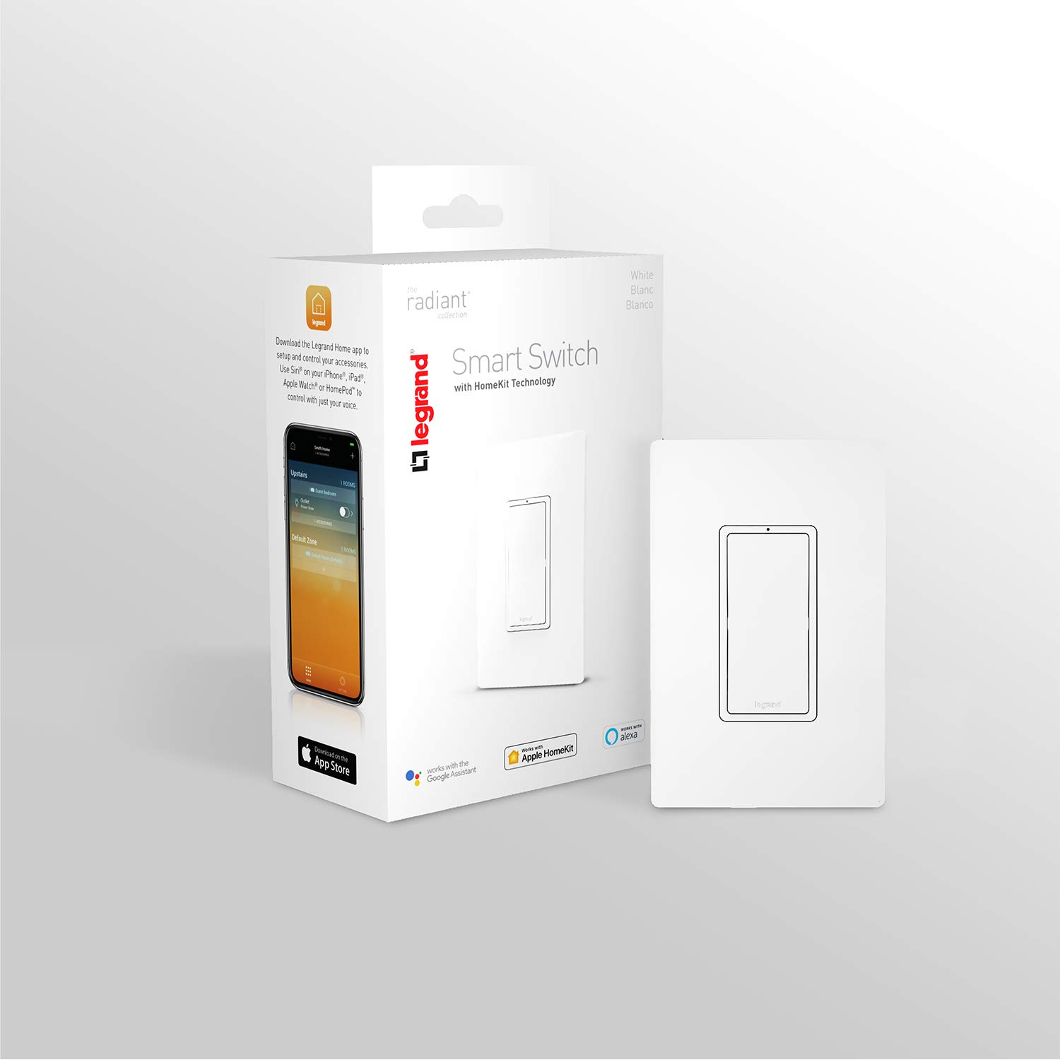 Legrand-On-Q HKRL10WH Smart Light Switch, Works with Apple HomeKit, Alexa & Google Assistant, WiFi, No Hub Required,