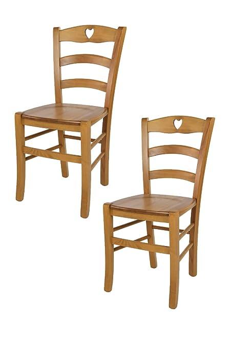 Tommychairs - Set 2 sedie Classiche Cuore per Cucina e Sala da Pranzo con  Robusta Struttura e Seduta in Legno di faggio Verniciata Rovere