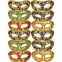 Mtlee 12 Piezas Medio Mardi Gras Mascarada Máscaras Venecianas Máscaras Conjunto de colores para Carnaval Baile de disfraces Fiesta de disfraces Suministros