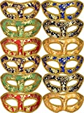 Mtlee 12 Pieces Half Mardi Gras Masquerade Mask Venetian Masks Colorful Set for Carnival Prom Ball Fancy Dress Party Supplies