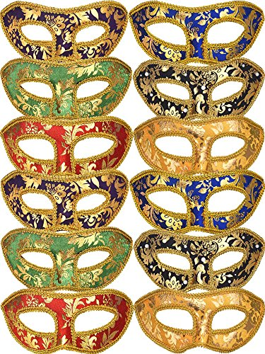 TOODOO 12 Pieces Half Mardi Gras Masquerade Mask Venetian Masks Set for Carnival Prom Ball Fancy Dress Party Supplies (Style