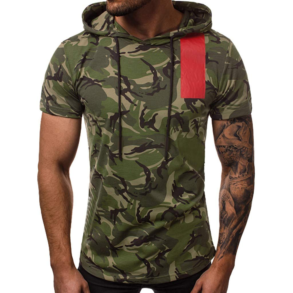 Kiasebu Men's New Summer T-Shirt Casual Camouflage Hat Vest Sports T Shirt Printing Elastic Short Sleeve Tops
