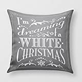 SIXSTARS Dreaming Of A White Christ Chalkboard Holiday Throw Pillow Cover for Sofa or Bedroom