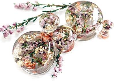 Eternity31 Pink Flower Ear Plugs Gauge Earrings Ear Tunnels Piercing Jewelry Wedding Bridal gauges Body Jewelry