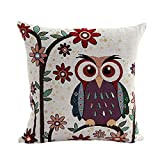 SODIAL(R) Cute Owl Pattern Linen Decorative Head Pillow Cover Home Cushion Cover (Large Flowers + Owl)