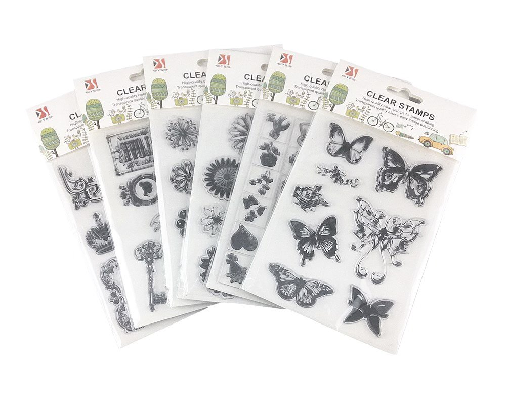 Honbay 6 Sheets Different Style Butterfly Flower Clear Stamps for Card Making Decoration and Scrapbooking 4336990257