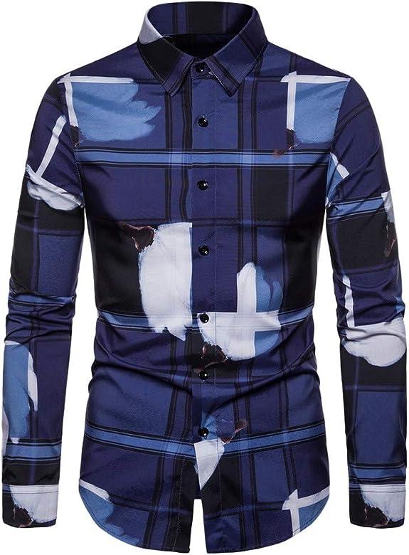 Camisa hombre Slim Fit Coreana, nueva manera de la camisa masculina casual botón manga larga camisa para los hombres estampado floral camisas los hombres turquesa L: Amazon.es: Ropa y accesorios