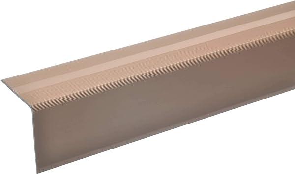 acerto 51130 Perfil angular de escalera de aluminio - 135cm 42x40mm bronce claro * Antideslizante * Robusto * Fácil instalación | Perfil de peldaño de escalera perfil de peldaño de aluminio: Amazon.es: Bricolaje y herramientas