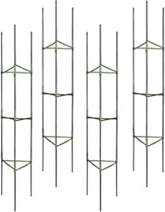 CASOLLY 4-Pack 64 inch Tomato Cage Assembled Garden Plant Stakes Vegetable Trellis Support,50 Pack Plant Tie Include