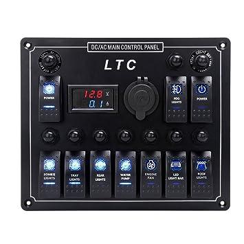 LTC ® 12V-24V Wasserdicht 10-Gang Schalter Panel mit Sicherung LED ...