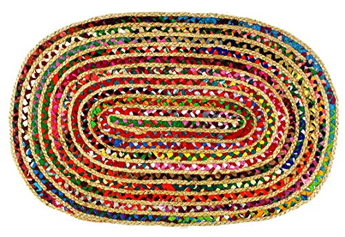 Cotton Craft - 3x5 Feet Oval Rag Rug - Jute & Cotton Multi Chindi Braid Rug, Hand Woven & Reversible - Handwoven from Multi-Color Vibrant Fabric Rags