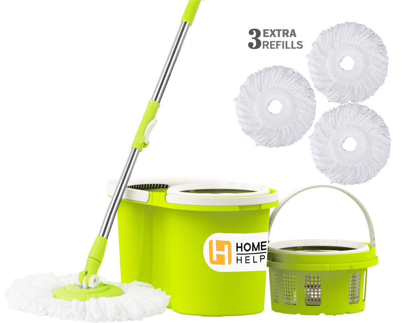 HomeHelper Microfiber Spin Mop,Bucket Floor Cleaning System-With 3 Microfiber Mop Heads-1-Year Guarantee