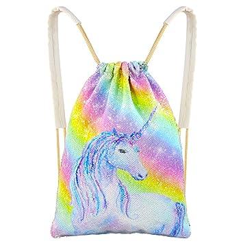 ea1529b9fb9f MHJY Sequin Drawstring Bag, Mermaid Backpacks Magic Flip Sequin Backpack  Reversible Sequin Dance Bag Glitter Gym Sports Travel Backpack for Girls