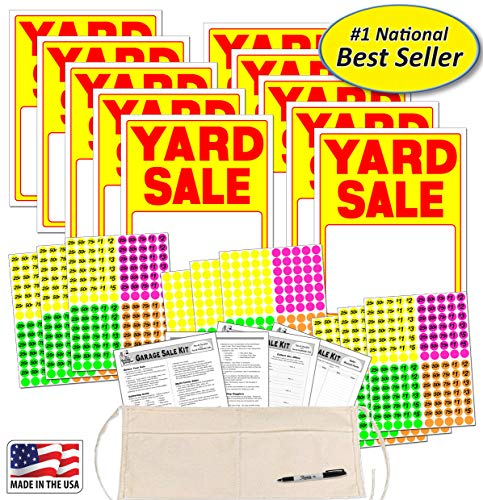 Yard Sale Sign Kit with Pricing Stickers and Change Apron (A504Y) ()