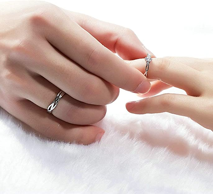 Wedding Rings Engagement Rings Open-end Rings Gift for Her Sterling Silver Rings Ceremony Rings Birthday Gifts Crystal Zircon Rings