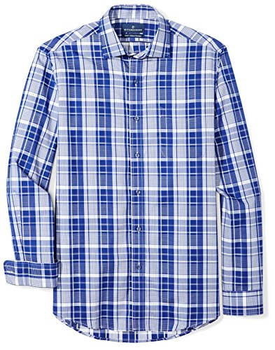 BUTTONED DOWN Men's Classic Fit Supima Cotton Spread-Collar Dress Casual Shirt, Large Navy/White Plaid, 18-18.5