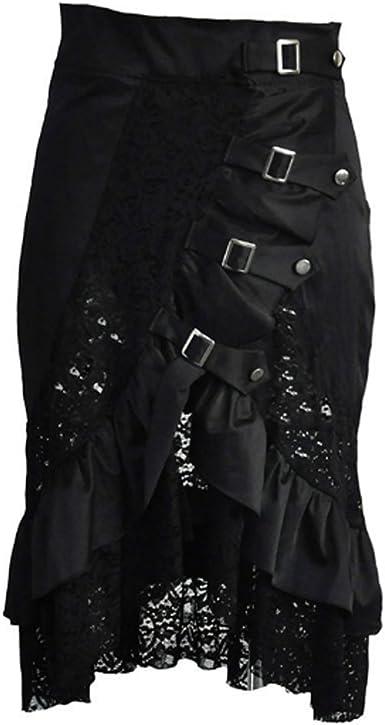 Falda Steampunk y Dobladillo Falda de Encaje de algodón Negro ...