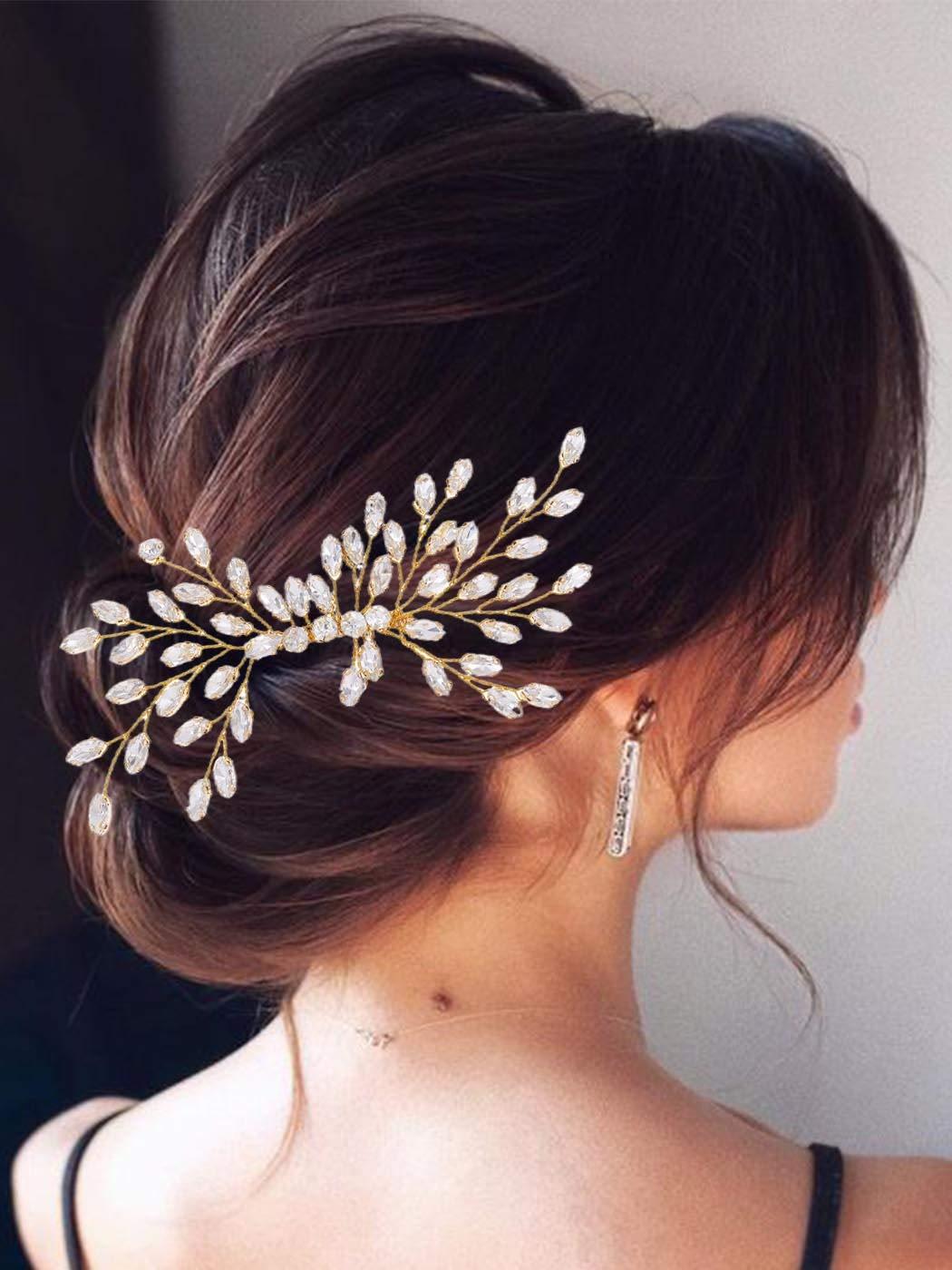 S483 Superbe Femmes Shiny Silver Hair Comb Pin Avec Glitter Blue Wave Line