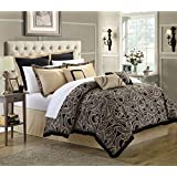 Chic Home 8-Piece Turin Reversible Comforter/Quilt Set, King, Black