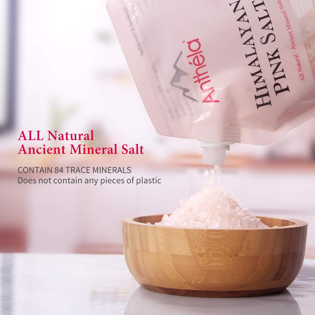Anthéla Himalayan Pink Salt, Premium Organic Gourmet 100% Pure Ancient Mineral Sea Salt