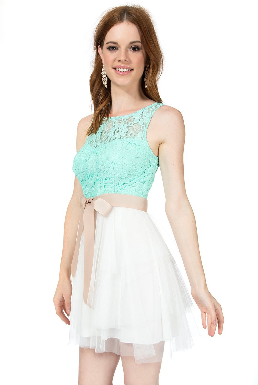 Teeze Me Juniors Sleeveless Illusion Top Tiered Skirt Dress With V Back by Teeze Me (Image #2)