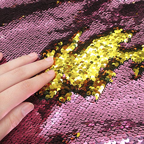 Sequins Sewing Fabric Mermaid Flip Up Sequin Reversible Sparkly Fabric 1 Yards(36''x47'') For Dress Clothing Making Home Decor (Pink & Gold)