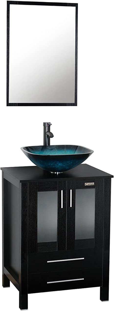 Amazon Com Eclife 24 Bathroom Vanity And Sink Combo Modern Stand Cabinet Bowl Turquoise Glass Vessel Sink 1 5 Gpm Bathroom Brass Faucet And Brass Pop Up Drain A10b02 Kitchen Dining