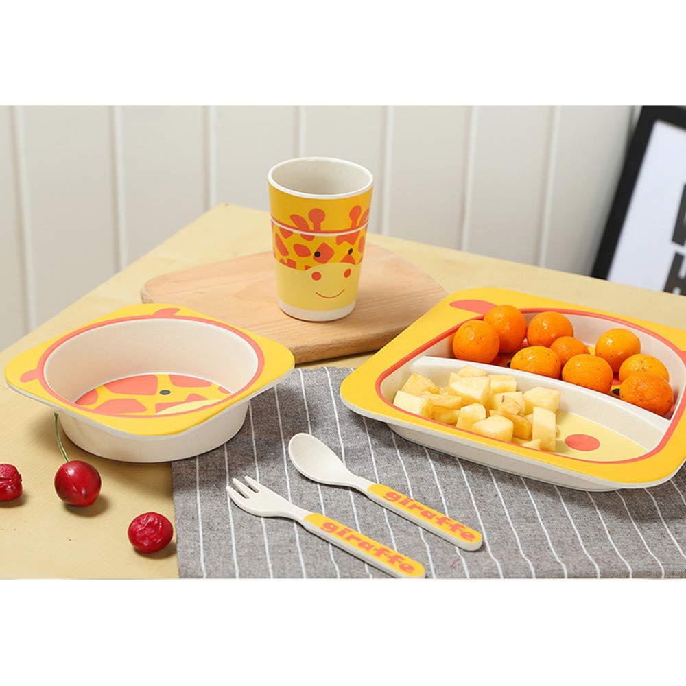 Girafe Ensemble de bambou /à couverts 5 pi/èces pour enfants comprenant des bols ronds en bambou pour la vaisselle des enfants Bols en bambou et tasses pour enfants