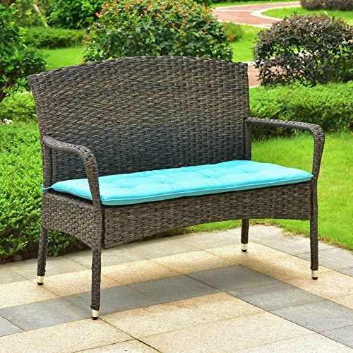 International CaravanInternational Caravan Majorca Resin Pandan Steel Loveseat with Cushions