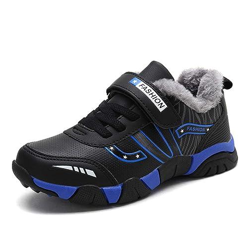 Boy Zapatillas Deportivas con Velcro Winter Plus Velvet Thickening para niños Zapatillas Negras Escuela Estudiantes Ocio Calzado Antideslizante Deportes ...