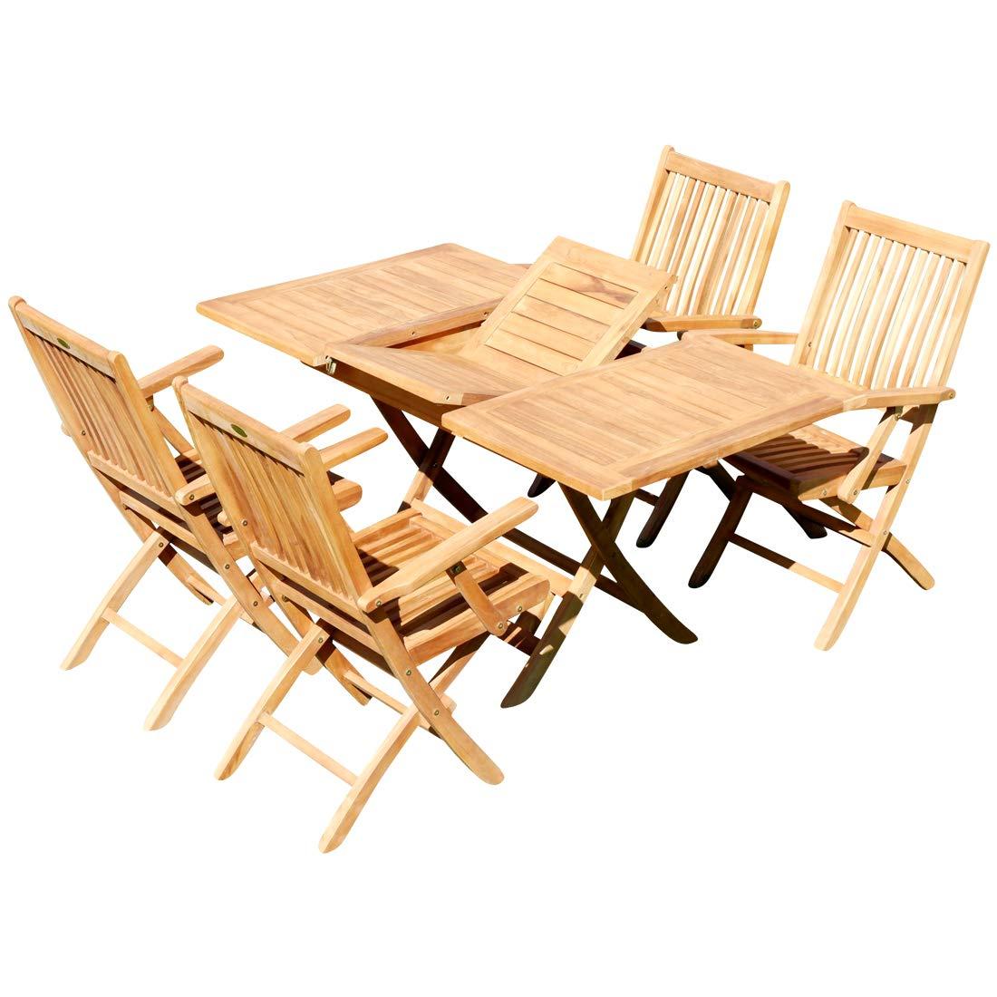 Real teca jardín jardín mesa extensible 100 - 140 x 80 cm + ...