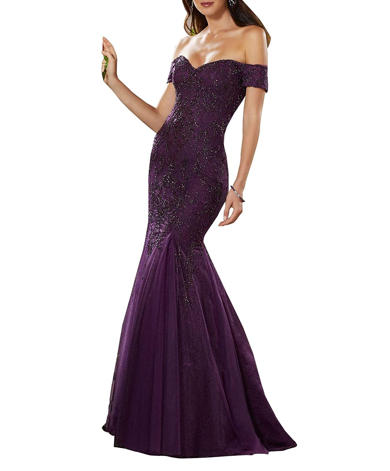 Dark Purple Aishanglina Aline Sexy Off The Shoulder Lace Embroidered Party Dress Prom Gown with Jewelled Beading