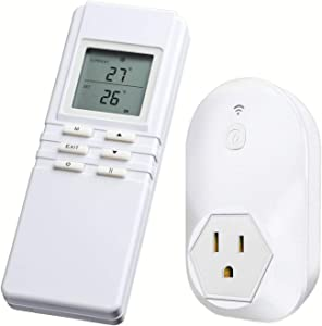 Briidea Wireless Thermostat Temperature Controller LCD Screen 3 Prong Plug With Built-in Temp Sensor Remote Control Receiver White Heating & Cooling for A/C Fans Heaters Coolers