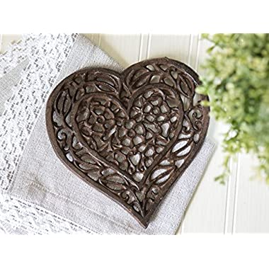 Cast Iron Heart Trivet   Decorative Cast Iron Trivet For Kitchen Or Dining Table   Vintage Design  6.75X6.5    With Rubber Pegs/Feet - Recycled Metal by Comfify