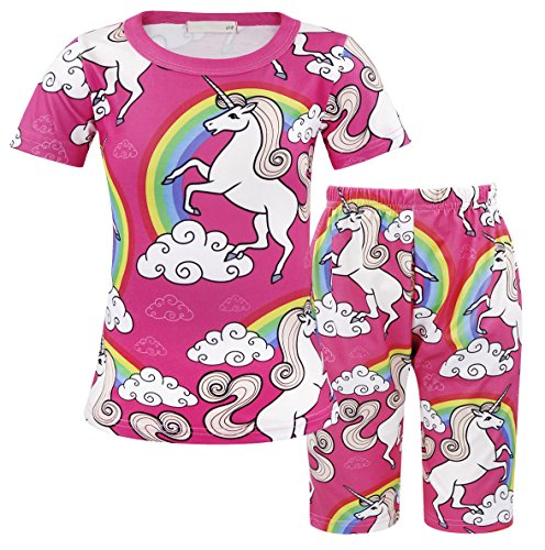 Girls Pyjama Set - AmzBarley Girls Short Unicorn Pink Clothing Sets 7-8 Years Size 8
