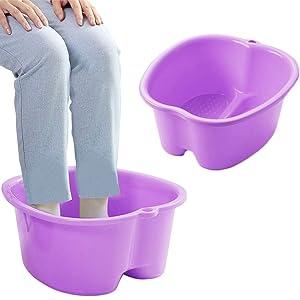 Foot Soaking Bath Basin, Large Size Feet Massager Tub, At Home Spa Pedicure Treatment (Purple)