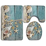 DING Beach Seashells Starfish Sand Soft Comfort Flannel Bathroom Mats,Anti-Skid Absorbent Toilet Seat Cover Bath Mat Lid Cover,3pcs/Set Rugs