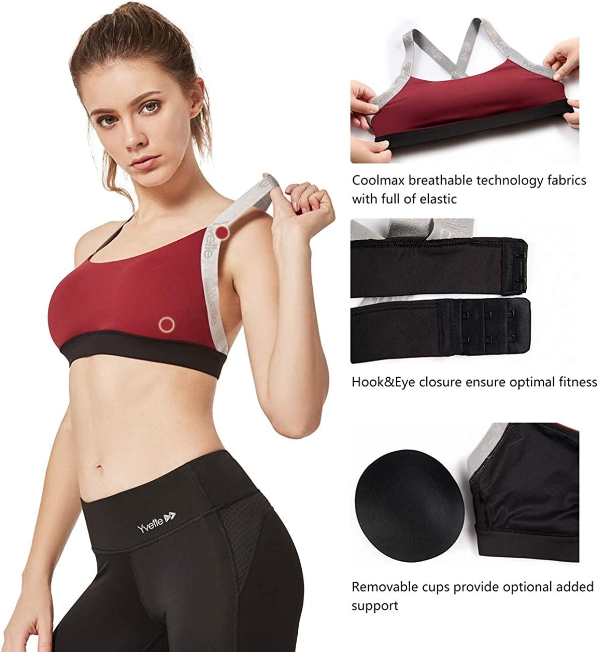 Yvette Women Sports Bra with Removable Pads High Impact Intense Activities Workout Bra