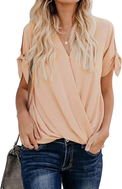 HOTAPEI Womens Short Sleeve Blouses Wrap V Neck Chiffon Blouses Loose Fit Tops Shirts