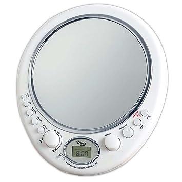 Miroir de Rasage Ovale anti-buée Pyle avec Radio AM/FM, Horloge et Alarme  Résistant à l\'Eau de Douche.