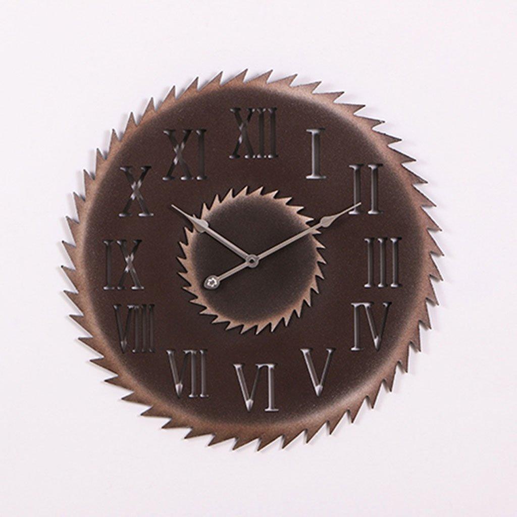 ローマの単語レトロな壁時計産業クリエイティブウォール立体的な装飾時計の模造金属のギア (Color : F) B07CSNNXHD F F
