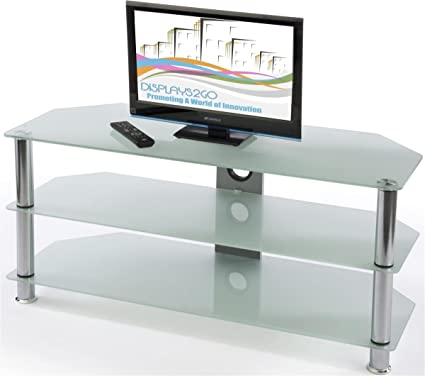 glass entertainment center hdtvs up to 60 tempered glass shelves silver - Glass Entertainment Center